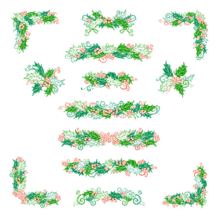 winterberry: Vector set of holly berries design elements isolated on white background. Hand-drawn Christmas corners, page decorations and dividers. Ornate elements for your festive design. Illustration