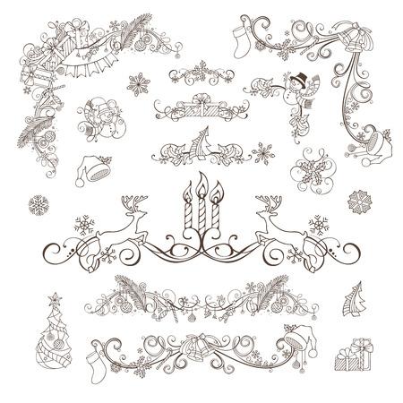 bordure de page: jeu de décoration de Noël isolé sur fond blanc. Noël babioles, des cadeaux, des bonhommes de neige, des cloches et des rubans, des cannes de bonbon, guirlande, chaussettes Père Noël et des chapeaux, des baies de houx et des bougies, des notes de musique. Illustration