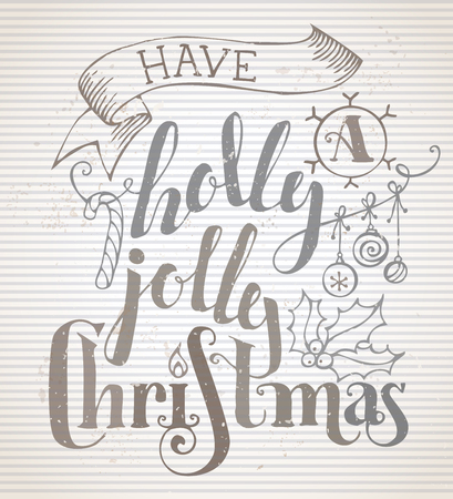 winterberry: Have a Holly Jolly Christmas! Grunge Merry Christmas lettering on old striped vintage background. Candy cane, Christmas baubles, ribbon and holly berry.