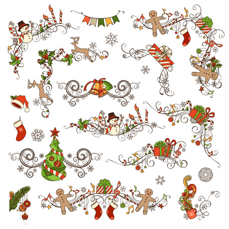 christmas garland: Christmas decoration set. Vector calligraphic design elements for your holiday layout. Christmas tree, gifts, snowmen, gingerbread men, bells, deer, candy canes, garland, Santa socks and hats, holly berries and candles, music notes.