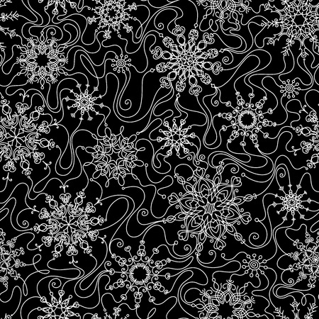 boundless: Seamless outlined snowflakes pattern. Ornate linear snowflakes. Black and white illustration. Boundless texture can be used for web page backgrounds, wallpapers, wrapping papers, invitation, congratulations and festive designs. Illustration