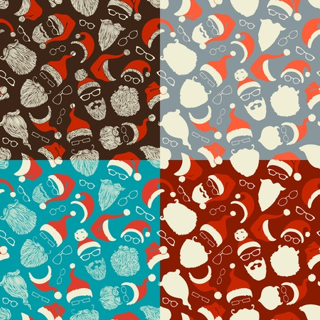 claus: Set of seamless pattern of Santa hats, beards and eyeglasses. Hand-drawn Christmas illustrations. Boundless background can be used for web page backgrounds, wallpapers, wrapping papers, invitation and congratulations.