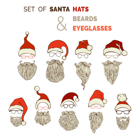 pompon: Vector set of Santa hats, moustache, beards and eyeglasses. Various Christmas design elements isolated on white background.