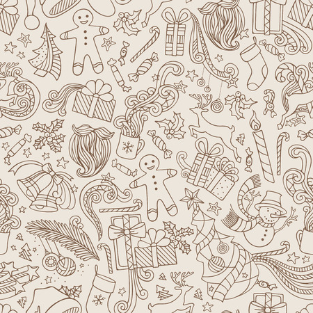 boundless: Vintage Seamless Doodles Christmas Pattern. Sepia hand-drawn ornate boundless wallpaper. Christmas tree and baubles, Santa sock, Santa hat, Santa beard, mistletoe, gifts, candy canes, snowman, swirls, gingerbread man, deer, bells and ribbons, stars, cup,
