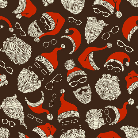 pompon: Seamless Christmas pattern of Santa hats, beards and eyeglasses. Hand-drawn Christmas illustration. Boundless background can be used for web page backgrounds, wallpapers, wrapping papers, invitation and congratulations.