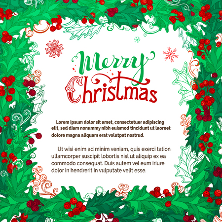 winterberry: Vector Merry Christmas background. Holly berries template. There is place for your text on white background in the center.