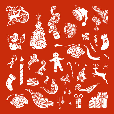 tree outline: Vector set of Christmas object silhouettes. Christmas tree and baubles, Santa sock, hat and beard, gifts, candy canes, snowman, swirls, stars, cup, candle, holly berries, gingerbread man, deer, bells and ribbons. Illustration