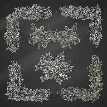 winterberry: Set of chalk holly berries page decorations and dividers. Christmas vintage design elements on blackboard background. Can be used for your Christmas invitations or congratulations. Illustration
