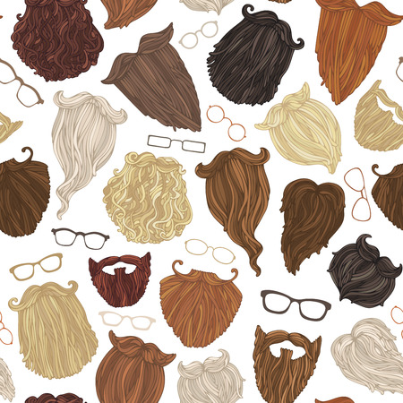 Seamless pattern of hipster beards and eyeglasses. Blond, brunet, dark-haired, ginger and grey-haired beards on white background. Vettoriali