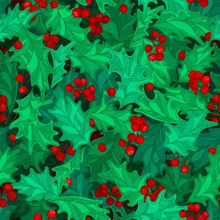 houx: No�l baies de houx pattern. Cartoon feuilles de houx et de baies d�coration. Boundless fond peut �tre utilis� pour la page web de milieux, papiers peints, papiers d'emballage, invitation et f�licitations.