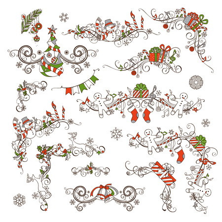 Christmas calligraphic page decorations and dividers. Vector set for your holiday layout. Christmas tree with baubles, gifts, snowmen, bells, candy canes, garland, Santa socks and hats, holly berries and candles, music notes.