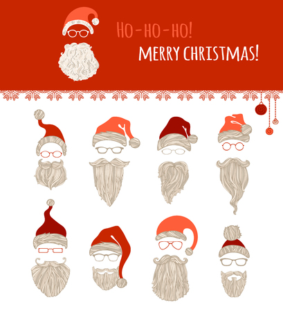 bigote: ¡Ho Ho Ho! ¡Feliz Navidad! Conjunto de varios sombreros de Santa, bigote, barba y gafas aisladas sobre fondo blanco. Vectores