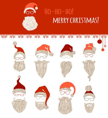 moustache: Ho-ho-ho! Merry Christmas! Set of various Santa hats, moustache, beards and eyeglasses isolated on white background. Illustration