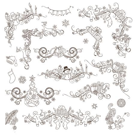bordure de page: Ensemble de Noël Page cru décorations et diviseurs. éléments de conception calligraphiques pour votre mise en page de vacances. Arbre de Noël, cadeaux, bonhommes de neige, pain d'épice, cloches, cerfs, des cannes de bonbon, guirlande, chaussettes Père Noël et des chapeaux, des baies de houx et des bougies, des notes de musique.