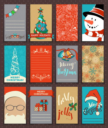 christmas poster: Set of 12 Christmas poster and card templates. Hand-drawn illustration. Can be used for festive scrapbooking, invitations and congratulations. There is place for your text.