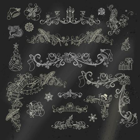 berries: Chalk Christmas calligraphic design elements on blackboard background. Page decorations and dividers for holiday layout. Christmas tree, gifts, deer, candy canes, Santa hats, holly berries. Illustration