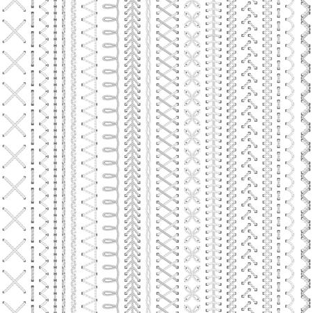 원활한 흰색 자 수 패턴입니다. 흰색 배경에 높은 상세한 다채로운 바늘. 무한한 질감.