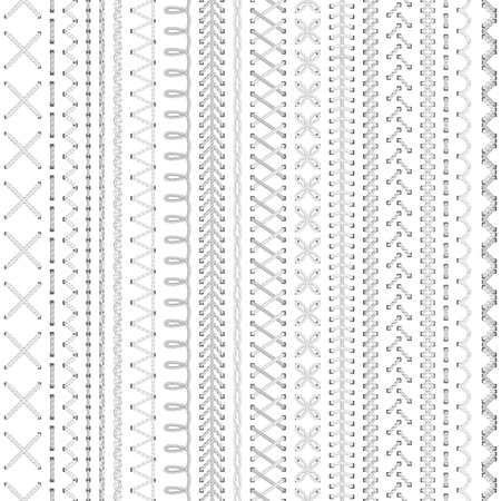 vertical dividers: Seamless white embroidery pattern. High detailed colourful stitches on white background. Boundless texture.