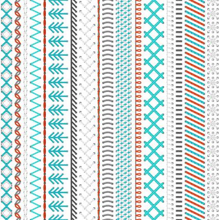 hilo rojo: Patrón de costura sin fisuras. Puntadas y costuras detalladas altos sobre fondo blanco. Fondo sin límites.