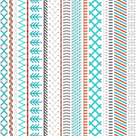 Seamless sewing pattern. High detailed stitches and seams on white background. Boundless background. Illustration