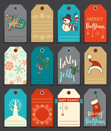 christmas gift: Set of 12 Christmas and New Year cute gift tags. Hand-drawn illustration. There is place for your text.
