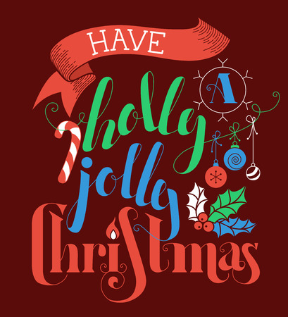 winterberry: Have a Holly Jolly Christmas! Flat hand-written lettering on dark red background.