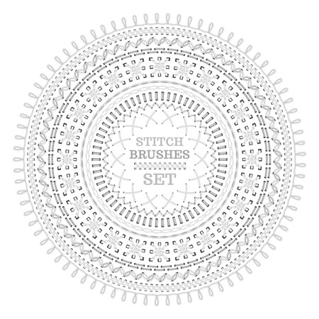 sewing pattern: Set of white seamless stitch brushes. Circle sewing pattern isolated on white background. All used pattern brushes included.
