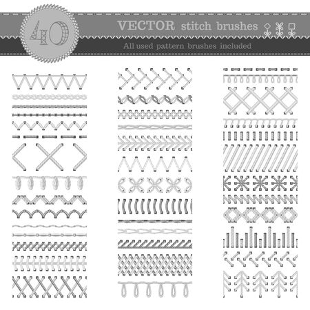 Set of white seamless stitch brushes. Sewing patterns, seams, borders, page decorations and dividers isolated on white background. All used pattern brushes included. Vectores