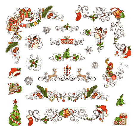 candy border: Set of Christmas ornate page decorations and dividers. Christmas baubles, gifts, snowmen, bells and ribbons, candy canes, garland, Santa socks and hats, holly berries and candles, music notes.