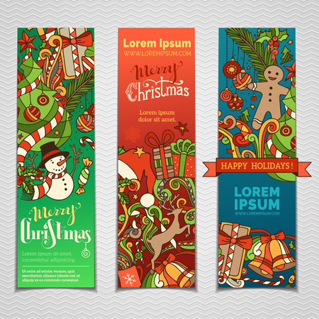 Set of colourful Christmas banners. Three vertical templates for your festive design. Christmas decorations and hand-lettering. Christmas tree and baubles, snowman and gingerbread man, deer and gifts, bells.