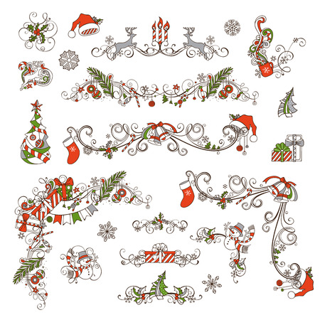 Christmas page dividers and decorations isolated on white background. Vintage ornate festive decorations. Christmas tree and baubles, gifts, snowman, deer, bells and ribbons, Santa sock and hat, cup, stars, holly berries and candles. Stock Illustratie
