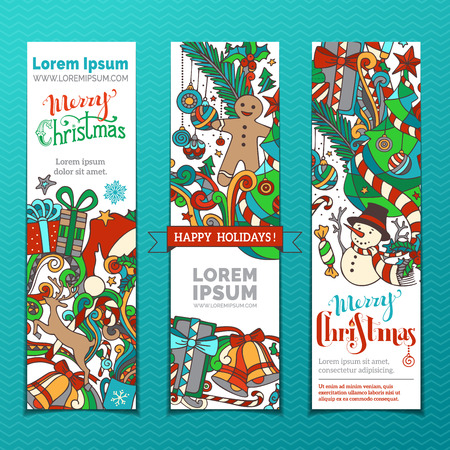 vertical divider: Set of Christmas banners. Three vertical templates for your design. Christmas tree and baubles, gifts, snowman, deer, Santa hat, holly berries, candy canes, gingerbread man and swirls.