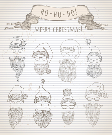 ho: Ho! Ho! Ho! Merry Christmas! Set of vintage Santa hats and beards. Doodles Christmas design elements on retro background. Illustration