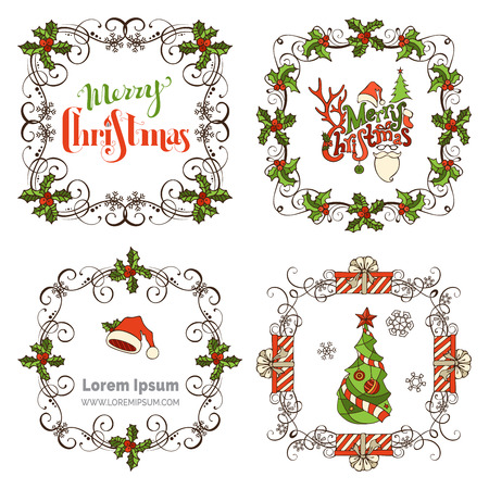 winterberry: Set of Christmas ornate frames. Ornate Christmas page decorations. Christmas tree and baubles, gifts, Santa hats, holly berries and snowflakes, hand-written lettering. There is place for your text.