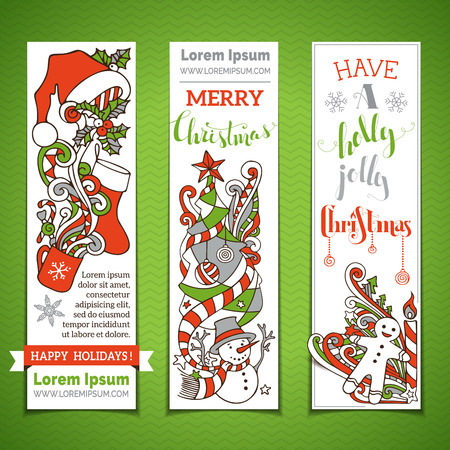 vertical divider: Set of vertical cartoon Christmas banners. Christmas tree and baubles, Santa sock and hat, holly berries, snowman, snowflakes, swirls, candy cane and sweets, stars and hand-written text. Illustration
