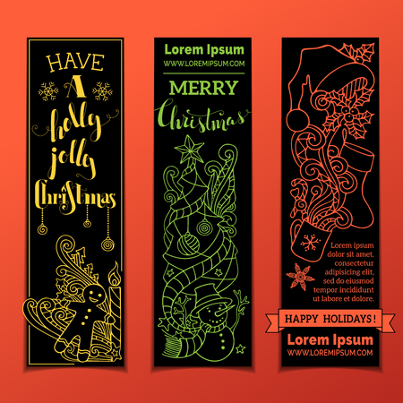 black and red: Set of vertical bright Christmas banners. Yellow, green and red Christmas contours on black background. Christmas tree and baubles, Santa sock and hat, holly berries, snowman, snowflakes, swirls, candy cane and sweets, stars and hand-written text.