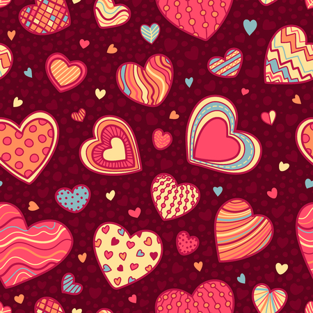 boundless: Seamless Valentines pattern. Vector pattern of hand-drawn hearts. Boundless background can be used for web page backgrounds, wallpapers, congratulations and invitations.