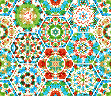 boundless: Seamless embroidery hexagons pattern. Vector colourful ethnic textile background. Boundless background can be used for web page backgrounds, wallpapers and invitations.