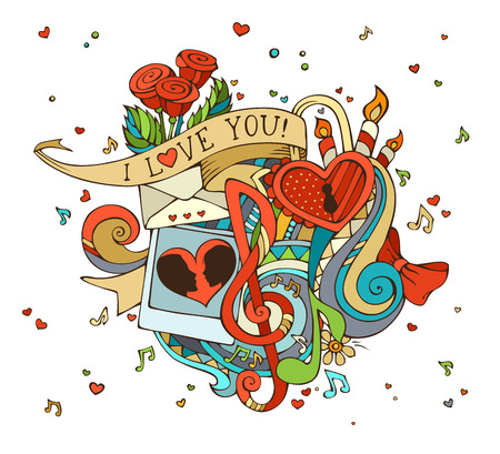 love letters: Happy Valentines Day! Music notes, hearts, lock, letter, ribbon, ring, roses, candles, swirls, photo with man and woman silhouettes.