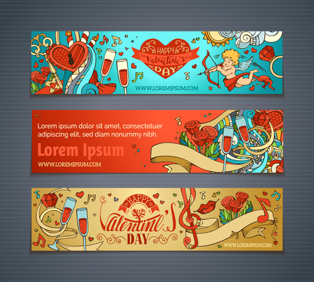 Happy Valentine's Day! Set of colourful cartoon romantic banners. Cupid, hearts, music notes, gift, balloons, ribbon, ring, roses, lock and key, hand-written lettering. Vector web templates.