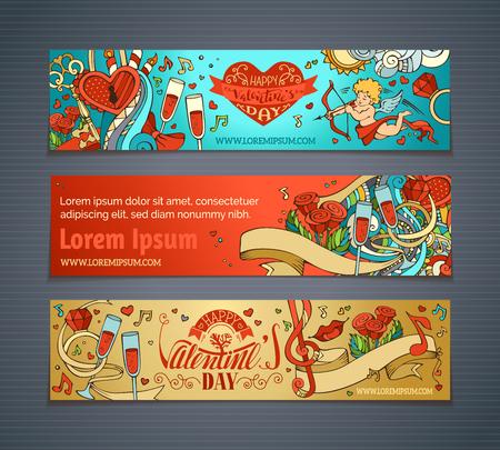 Joyeuse Saint-Valentin! Ensemble de dessin animé coloré bannières romantiques. Cupidon, coeurs, notes de musique, cadeaux, ballons, ruban, anneau, roses, serrure et clef, lettrage écrite à la main. Vector web templates.