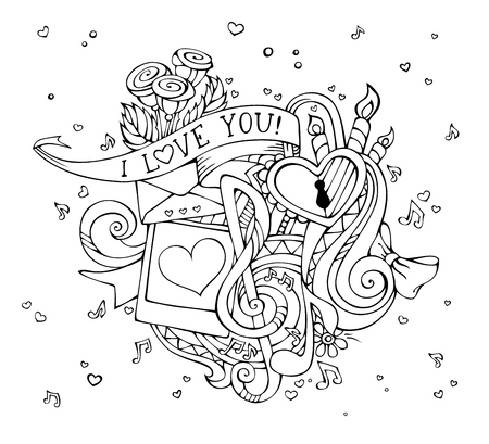 notes music: Vector I Love You doodles illustration. Outlined hand-drawn background. Music notes, hearts, lock, letter, ribbon, ring, roses, candles, swirls, photo with man and woman silhouettes.
