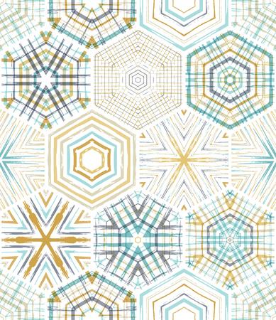 Borduurwerk naadloze zeshoeken patroon. Vector etnische textiel grenzeloze achtergrond. Grenzeloze achtergrond kan worden gebruikt voor Web-pagina achtergronden, wallpapers en uitnodigingen.