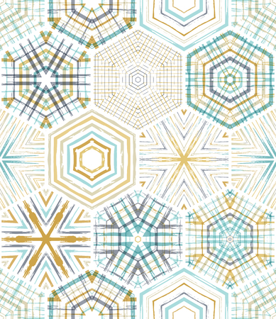 Embroidery seamless hexagons pattern. Vector ethnic textile boundless background. Boundless background can be used for web page backgrounds, wallpapers and invitations.
