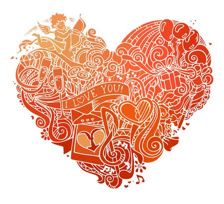 clave sol: coraz�n dibujado a mano garabatos de color rojo aisladas sobre fondo blanco. la plantilla del cartel del vector. Cupido, anillo, rosas, sol, nubes y arco iris, remolinos y las cintas, globos, llave, cerradura y otros s�mbolos.