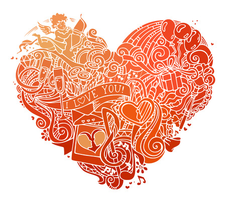 llave de sol: Hand-drawn red doodles heart isolated on white background. Vector poster template. Cupid, ring, roses, sun, clouds and rainbow, swirls and ribbons, balloons, key, lock and others symbols. Vectores