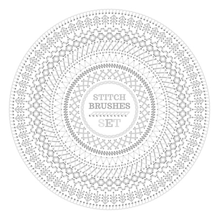 spruce  thread: Vector set of white high detailed seams. Circle sewing pattern isolated on white background. All used pattern brushes included.