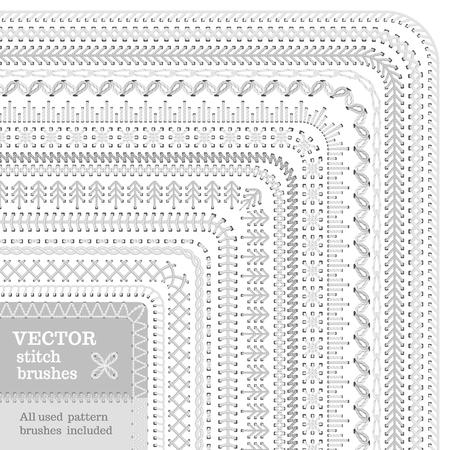 Vector Reihe von weißen Stich Bürsten. Schnittmuster, Grenzen, Nähte, Seite Dekorationen und Teiler auf weißem Hintergrund. Alle verwendeten Muster Bürsten enthalten.