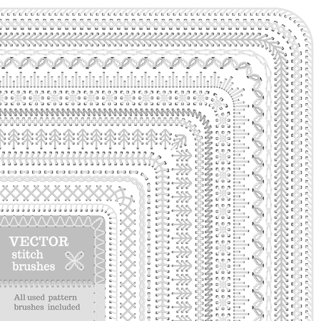 Vector set of white stitch brushes. Sewing patterns, borders, seams, page decorations and dividers isolated on white background. All used pattern brushes included.