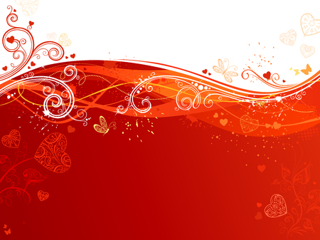 butterflies for decorations: Red and white waves Valentines background. Flowers and butterflies, flourishes and ornate decorations. There are places for your text on red and white areas.